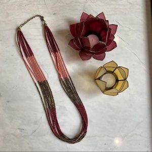 Francesca's maroon and pink beaded necklace